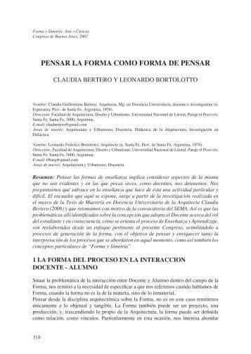 PENSAR LA FORMA COMO FORMA DE PENSAR
