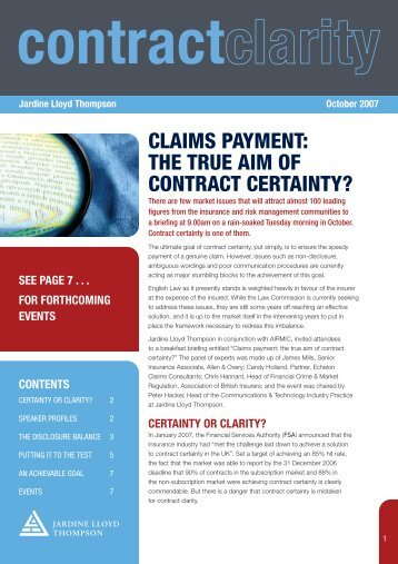 Contract Clarity Seminar Newsletter - JLT