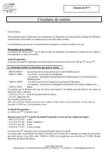 2008-2009 rentrée des classes 6è-2009 - Collège Episcopal de ...