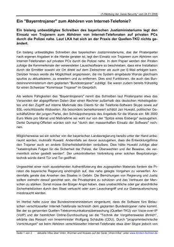 """Ein """"Bayerntrojaner"""" zum Abhören von Internet ... - Torsten Fechner"""