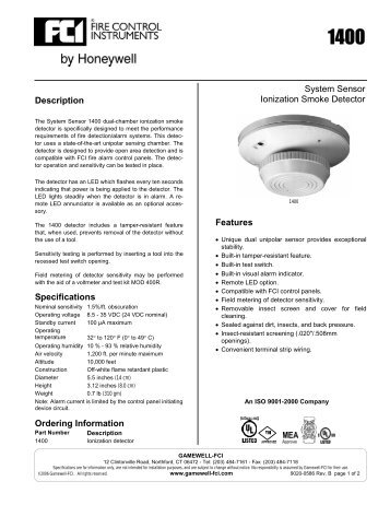 system sensor ionization smoke detector features gamewell fci?quality=85 the i 3 series heads and system sensor 2451 wiring diagram at panicattacktreatment.co