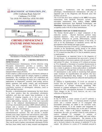chemiluminescence enzyme immunoassay (clia) t3 - Diagnostic ...