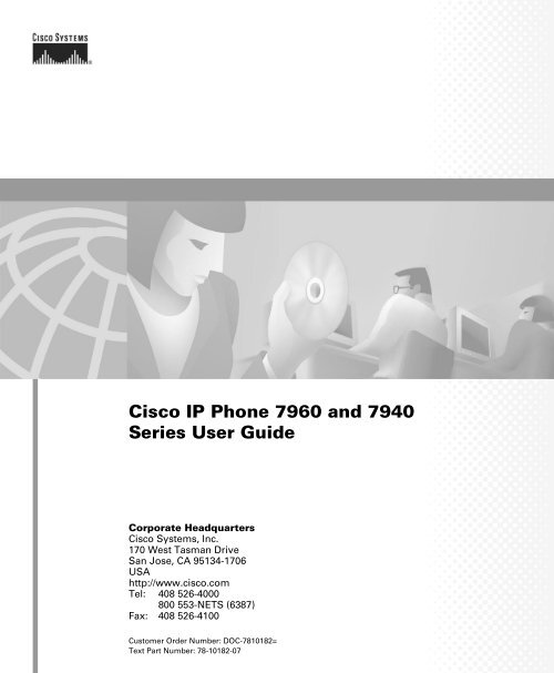 Cisco IP Phone 7960 and 7940 Series User Guide - South Florida