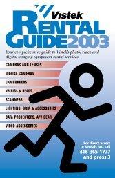 Rental Price List 2003 - Vistek