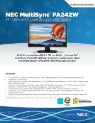 NEC MultiSync PA242W Spec Brochure - NEC Display Solutions