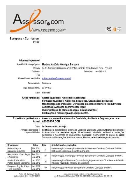 curriculum vitae - modelo uniao europeia pdf