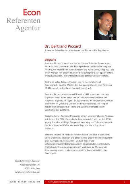 Dr. Bertrand Piccard - Econ Referenten-Agentur