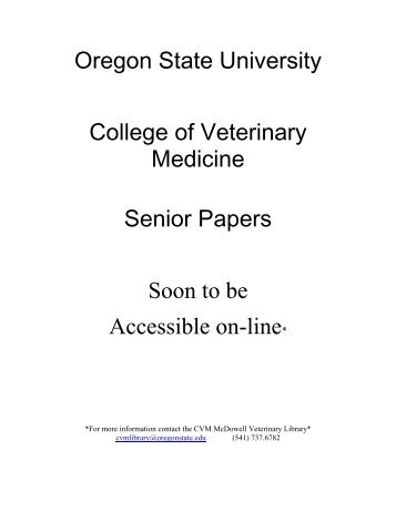 CVM Senior Papers (PDF) - College of Veterinary Medicine