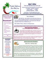 MAY 2004 Pacific Explorers Dive Club, Inc.