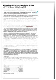 NZ Society of Authors Newsletter Friday 10/5/13 Issue 12 Volume XII