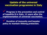 Update of the universal vaccination programme in Italy