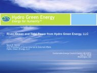 River, Ocean and Tidal Power from Hydro Green Energy, LLC