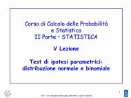 STATISTICA V Lezione Test di ipotesi parametrici