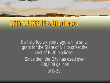 CITY OF KEENE & Biodiesel - Granite State Clean Cities Coalition