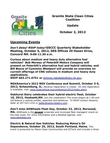 October 2012 - Granite State Clean Cities Coalition - NH.gov