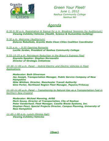 Green Your Fleet! Agenda - Granite State Clean Cities Coalition