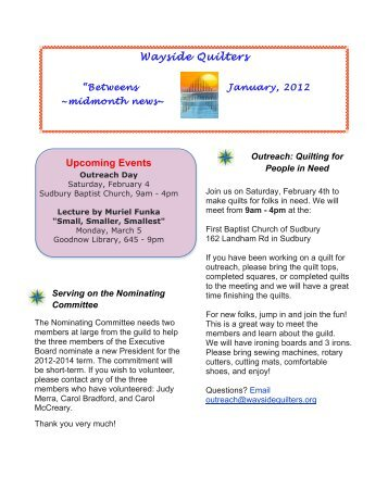 Wayside Quilters Upcoming Events - Wayside Quilters Guild