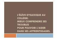 L'ÉLÈVE DYSLEXIQUE AU COLLÈGE: MIEUX COMPRENDRE SES ...
