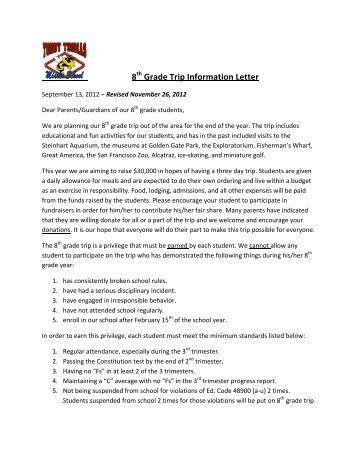 Activity Calendar And Field Trip Information Grade 2