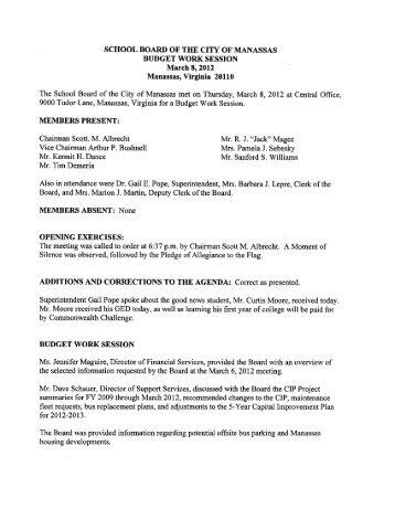 March 8, 2012 - Manassas City Public Schools
