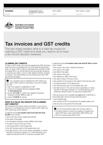 TAX INVOICE AND RECORDS KEEPING GST