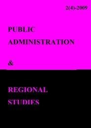 public administration & regional studies - Facultatea de Drept ...