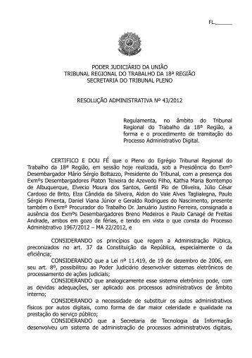 RA nº 43/2012 - TRT18