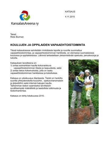 Koulujen ja oppilaiden vapaaehtoistoiminta - Kansalaisareena