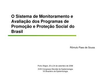 O Sistema de Monitoramento e Avaliação dos Programas ... - Epi2008