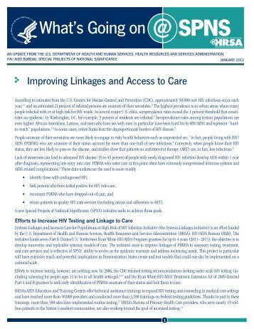 Improving Linkages and Access to Care - HRSA HIV/AIDS Programs
