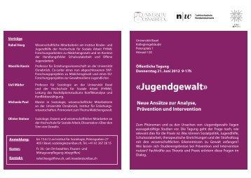 «Jugendgewalt» - Institut für Soziologie - Universität Basel