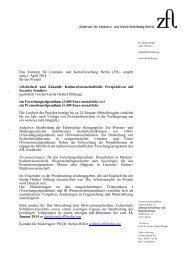 Das Zentrum für Literatur- und Kulturforschung Berlin (ZfL) vergibt ...