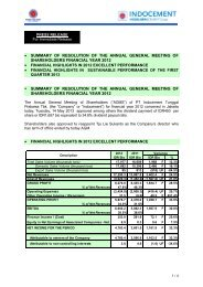INDOCEMENT – Q1 2012 results - Indocement Tunggal Prakarsa, PT.