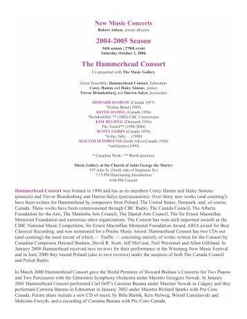 2004-2005 Season The Hammerhead Consort - New Music Concerts