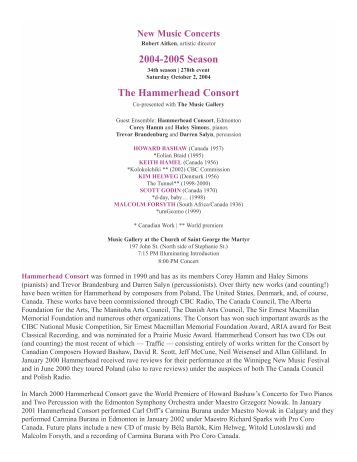 2004-2005 Season The Hammerhead Consort - New Music Concerts