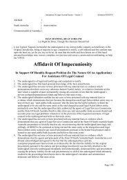 Affidavit Of Impecuniosity - Love for Life