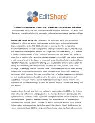 EDITSHARE ANNOUNCES FIRST EVER LIGHTWORKS OPEN ...
