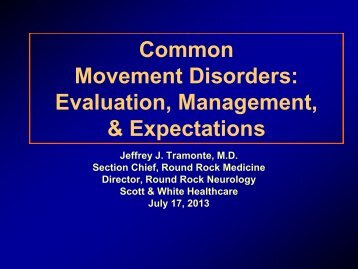 Common Movement Disorders - Healthcare Professionals