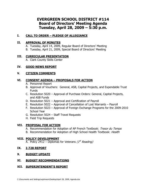 Meeting Agenda Tuesday April 28 2009 A 5 30 Pm Evergreen