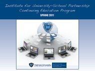 Institute for University-School Partnership Continuing Education ...