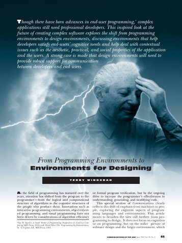 From programming environments to environments for designing
