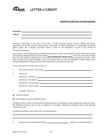 standby letter of credit application for irrevocable documentary credit 24967 | standby irrevocable letter of credit application fhlbank topeka