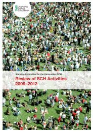 Review of SCH Activities 2009–2012 - European Science Foundation