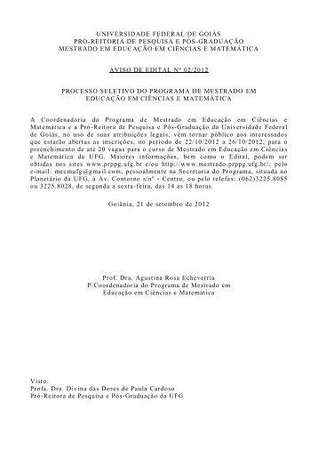 Edital Processo Seletivo 2013 - Mestrado em Educação em ...