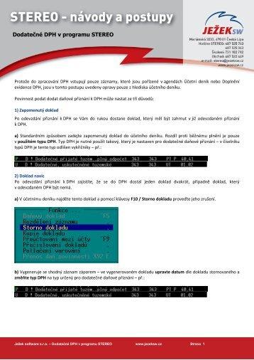 Dodatečné DPH v programu STEREO - Ježek software