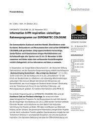 vielseitiges Rahmenprogramm zur EXPONATEC COLOGNE