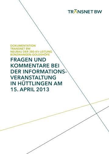 Dokumentation InfoVA Hüttlingen - TransnetBW GmbH | Startseite