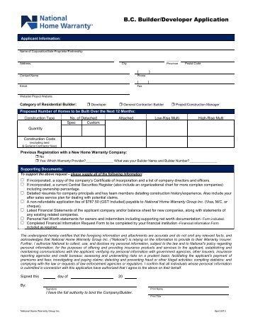 B.C. Builder/Developer Application - National Home Warranty