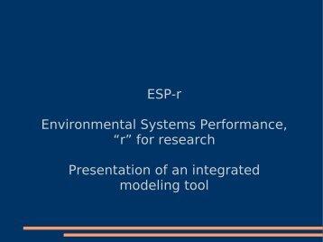 "ESP-r Environmental Systems Performance, ""r"" for ... - (RMLL) 2007"