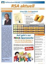 RSA Kundenzeitung Oktober 2011 - Raiffeisenbank RSA eG